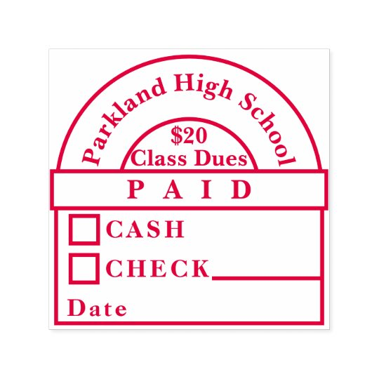 High School Class Dues Paid Stamp