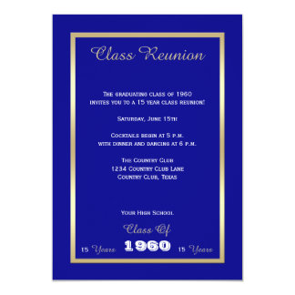 High School Class Reunion Classic Blue Gold Accent Card