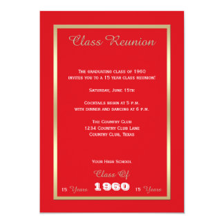 "High School Class Reunion Invitation -- Any Year 5"" X 7"" Invitation Card"