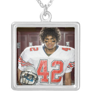 High School football player Square Pendant Necklace