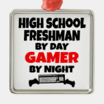 High School Freshman by Day Gamer by Night Square Metal Christmas Ornament