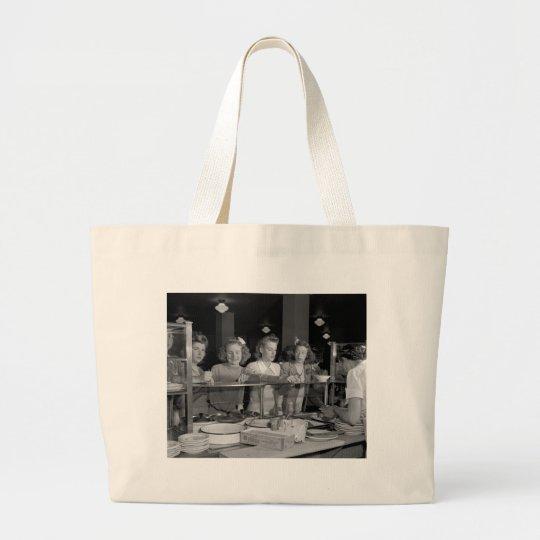 High School Girls, 1940s Large Tote Bag