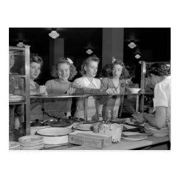 High School Girls, 1940s Postcard