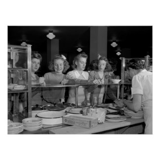 High School Girls 1940s Poster