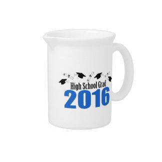 High School Grad 2016 Caps And Diplomas (Blue) Beverage Pitcher