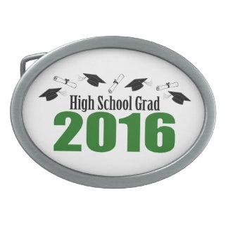 High School Grad 2016 Caps And Diplomas (Green) Oval Belt Buckle