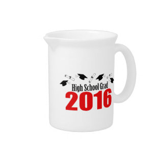 High School Grad 2016 Caps And Diplomas (Red) Beverage Pitcher