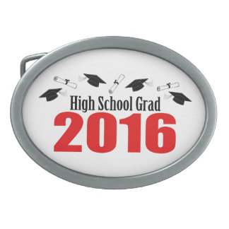High School Grad 2016 Caps And Diplomas (Red) Oval Belt Buckle