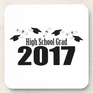 High School Grad 2017 Caps And Diplomas (Black) Beverage Coaster