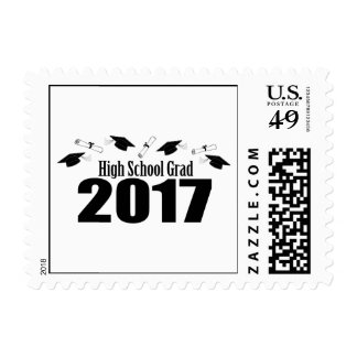 High School Grad 2017 Caps And Diplomas (Black) Postage