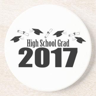 High School Grad 2017 Caps And Diplomas (Black) Sandstone Coaster