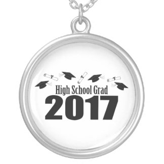 High School Grad 2017 Caps And Diplomas (Black) Silver Plated Necklace