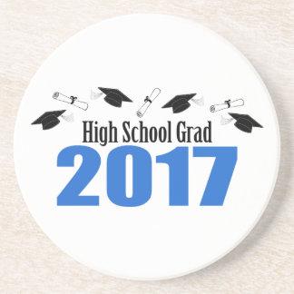 High School Grad 2017 Caps And Diplomas (Blue) Coaster