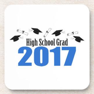 High School Grad 2017 Caps And Diplomas (Blue) Drink Coaster