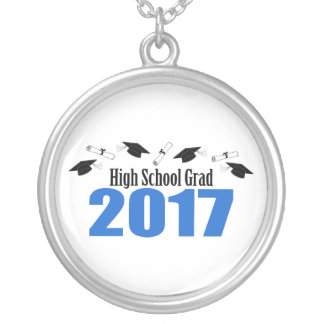 High School Grad 2017 Caps And Diplomas (Blue) Silver Plated Necklace