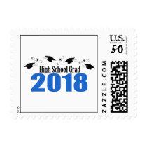 High School Grad 2018 Caps And Diplomas (Blue) Postage