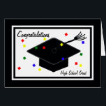 """High School Graduation Card<br><div class=""""desc"""">This fun High School Graduation card features a graduation cap surrounded by flying colorful confetti. The word &quot;Congratulations&quot; appears at the top left and the words &quot;High School Grad&quot; appear at the bottom right. Inside the graduation card is the perfect sentiment for a new high school grad. Copyright Kathy Henis...</div>"""