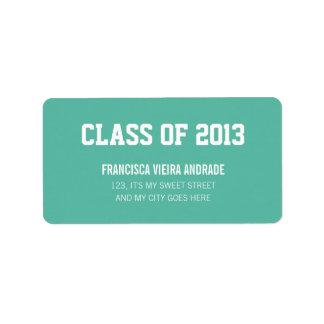 High School Graduation Class of 2013 Emerald Green Label