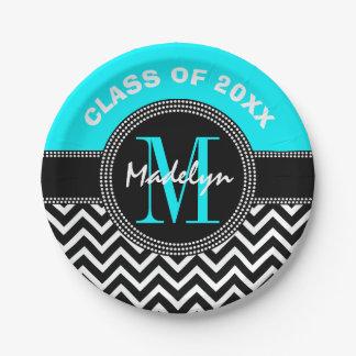 High School Graduation Monogram Chevron Paper Plate