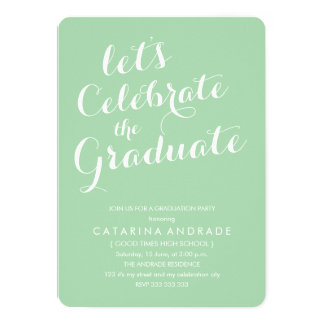 High School Graduation Party Green Script Photo Card