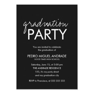 High School Graduation Party Photo Black and White Card