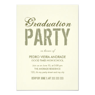 High School Graduation Party Photo Green Beige 4.5x6.25 Paper Invitation Card