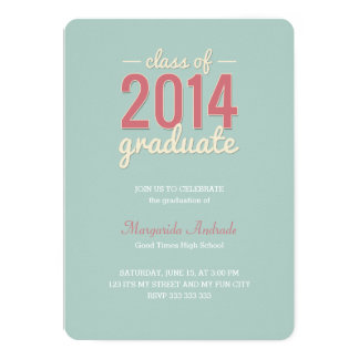 High School Graduation Party Photo Mint Pink 2014 Personalized Invites