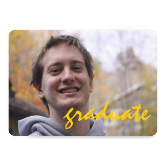 High School Graduation Party Yellow Gray Photo 5x7 Paper Invitation Card