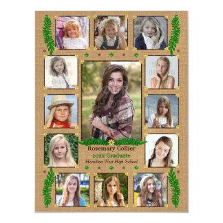 High School Graduation Photo Collage | Burlap Fern Magnetic Card