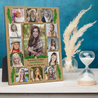 High School Graduation Photo Collage | Burlap Fern Plaque
