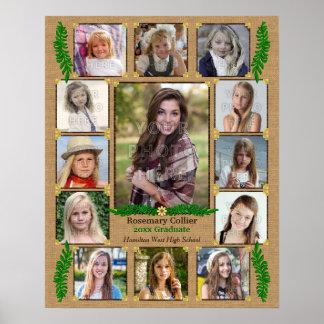 High School Graduation Photo Collage | Burlap Fern Poster