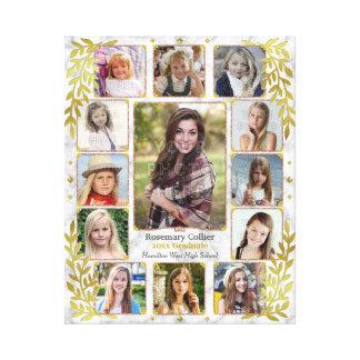 High School Graduation Photo Collage | Marble Gold Canvas Print