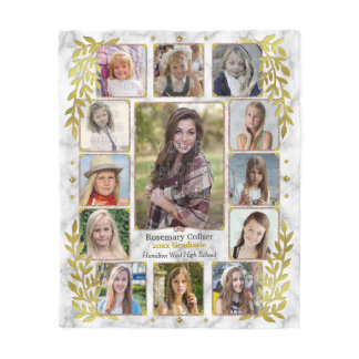 High School Graduation Photo Collage | Marble Gold Fleece Blanket