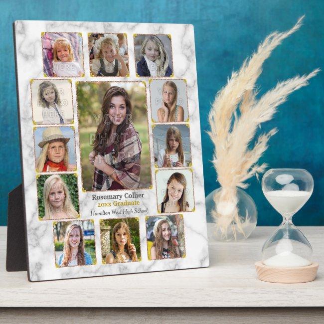 High School Graduation Photo Collage White Marble Plaque