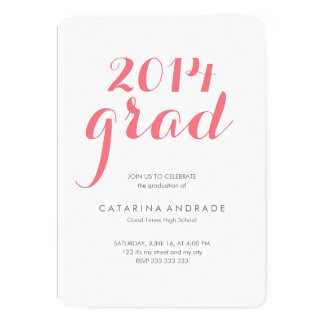 High School Photo Graduation Party 2014 Grad Pink Card