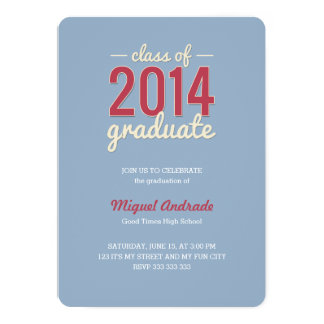 High School Photo Graduation Party Blue Red Guys 5x7 Paper Invitation Card