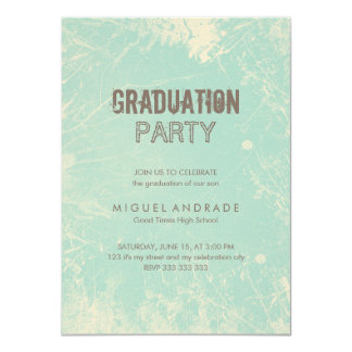 High School Photo Graduation Party Green Grunge 4.5x6.25 Paper Invitation Card