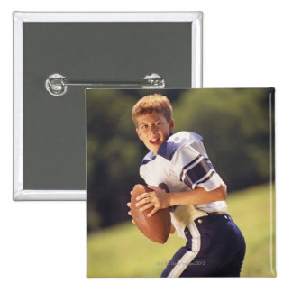 High school quarterback with football 2 inch square button