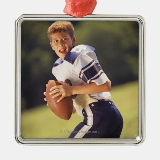 High school quarterback with football square metal christmas ornament
