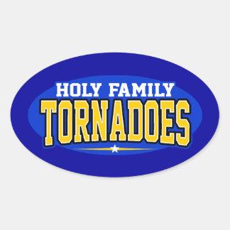 High School secundaria católica de la familia Calcomanías Ovales Personalizadas