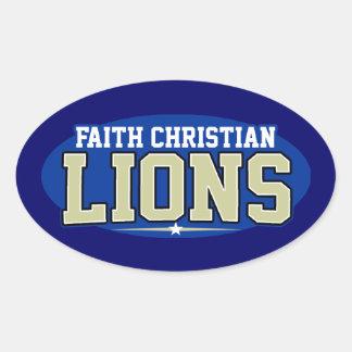 High School secundaria cristiana de la fe; Leones Pegatinas De Oval