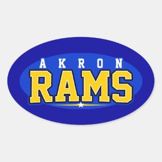 High School secundaria de Akron; Espolones Calcomanías Óvales Personalizadas
