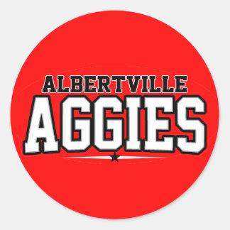 High School secundaria de Albertville; Aggies Pegatina Redonda