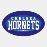 High School secundaria de Chelsea; Avispones Pegatinas De Óval Personalizadas