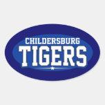 High School secundaria de Childersburg; Tigres Calcomanía Óval