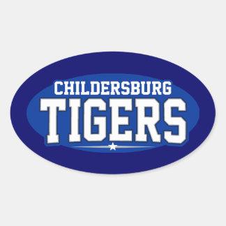 High School secundaria de Childersburg; Tigres Pegatina Ovalada