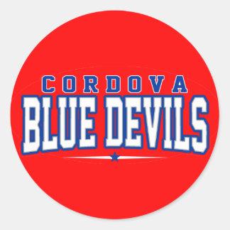High School secundaria de Cordova; Diablos azules Pegatinas Redondas