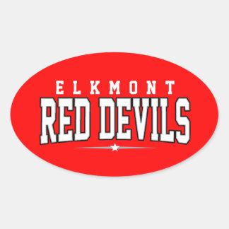 High School secundaria de Elkmont; Diablos rojos Colcomanias Óval Personalizadas