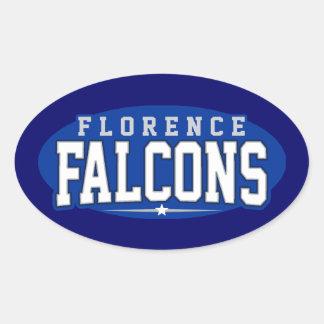 High School secundaria de Florencia; Falcons Pegatinas De Óval