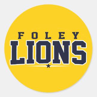 High School secundaria de Foley; Leones Pegatina Redonda